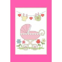 Cross stitch kit - Birth Day card - Birth of a girl