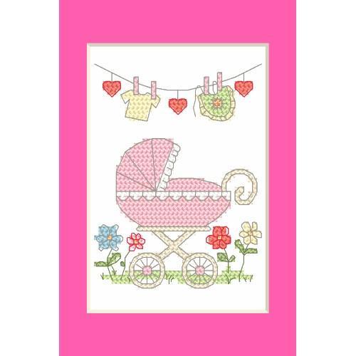 Cross stitch kit - Birth Day card - Birth of a girl