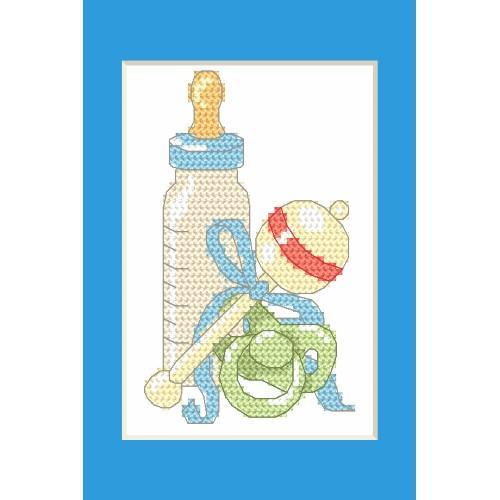 ZU 8615-02 Cross stitch kit - Birth Day card - Birth of a son