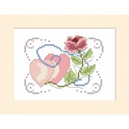 Cross stitch kit - Wedding card - Rose and two hearts