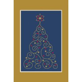 Cross stitch kit - Christmas card - Christmas tree with stars