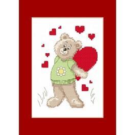ZU 4986 Cross stitch kit - Valentine's Day card - Teddy Bear with a heart