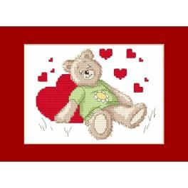 Cross stitch kit - Valentine's Day card - Sleeping teddy