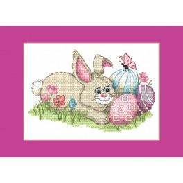 Cross stitch kit - Easter card - Bunny with Easter eggs