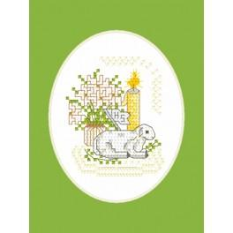 Cross stitch kit - Easter card - Lamb with a flag