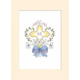 Cross stitch kit - Easter card - Cross in a heart