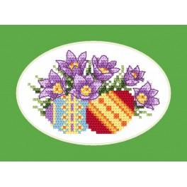 Cross stitch kit - Easter card - Pasque-flowers