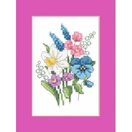 Cross stitch kit - Easter card - Spring bouquet