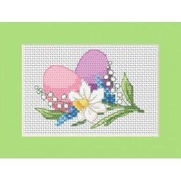 Cross stitch kit - Easter card - Colourful Easter eggs