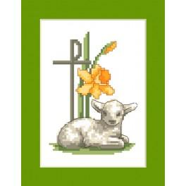 Cross stitch kit - Easter card - Easter lamb