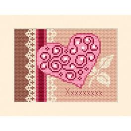 Cross stitch kit - Card - Invitation - Heart