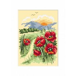 Cross stitch kit - Card - Landscape with poppies