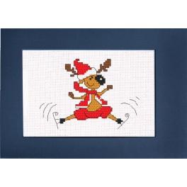 Cross stitch kit - Card - Smiling reindeer