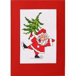 Cross stitch kit - Card - Cheerful Santa Claus