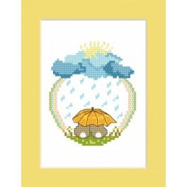 Cross stitch kit - Card - Bunnies in the rain