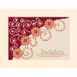 Cross stitch kit - Card - Invitation- Flowers