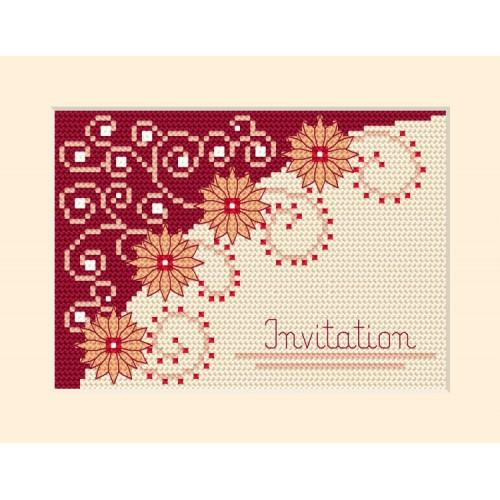 Cross stitch kit - Card - Invitation- Flowers