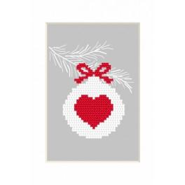 Cross stitch kit - Christmas postcard - Christmas ball with a heart