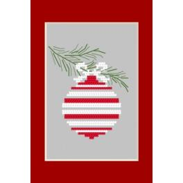 Cross stitch kit - Christmas postcard - Christmas ball on a spruce twig
