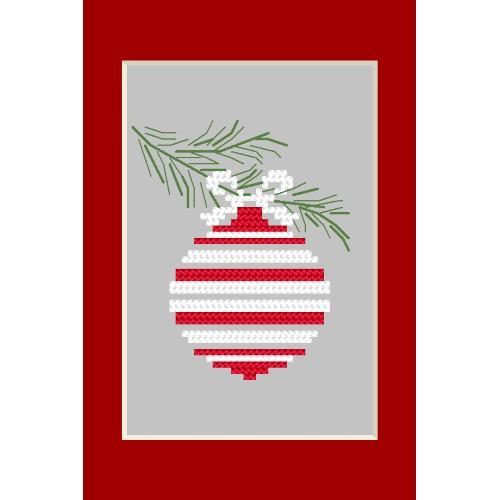 ZU 8664 Cross stitch kit - Christmas postcard - Christmas ball on a spruce twig
