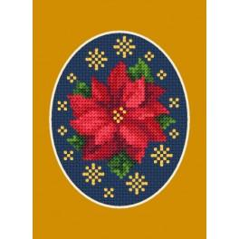 Cross stitch kit - Christmas card - Poinsettia with stars