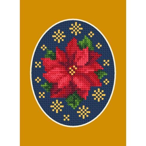 Cross stitch kit - Christmas card - Poinsettia with stars