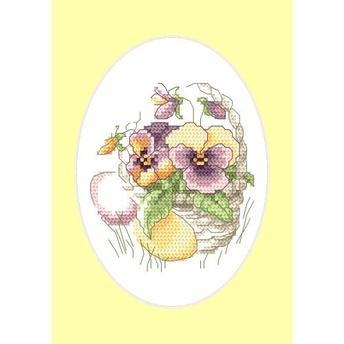 Cross stitch kit - Easter card - Pansies
