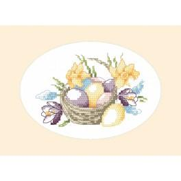 Cross stitch kit - Easter card - Basket with easter eggs