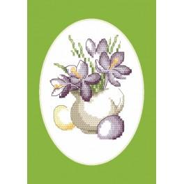 Cross stitch kit - Easter card - Crocuses