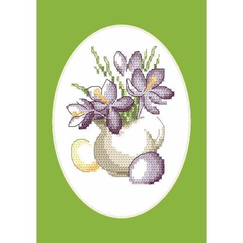Cross stitch kit - Easter card - Crocuses