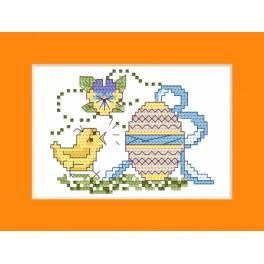 Cross stitch kit - Easter card - Chick with Easter egg