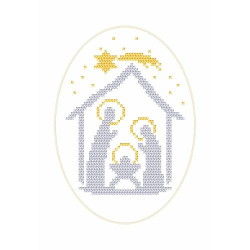 ZU 8656 Cross stitch kit - Christmas postcard - Stable