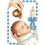 ZI 4925-02 Cross stitch kit with mouline and beads - Card - Boy baptism