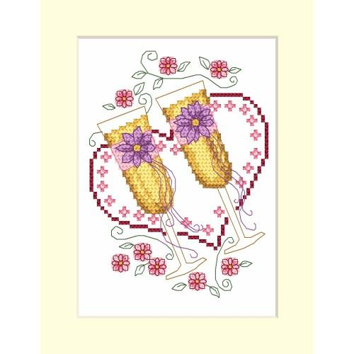ZI 4953-02 Cross stitch kit with mouline and beads - Wedding card - Glasses