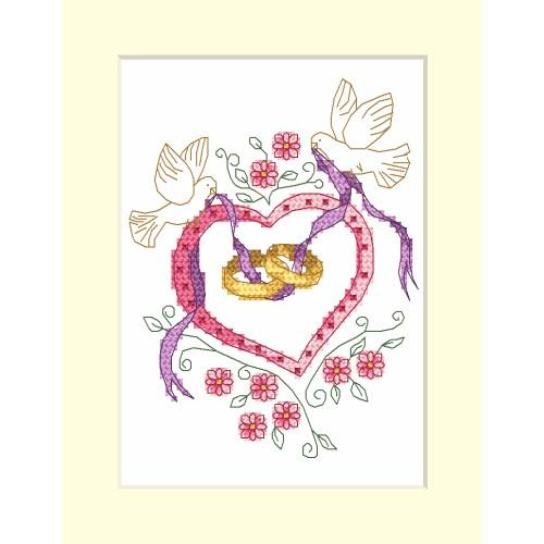 ZI 4953-01 Cross stitch kit with mouline and beads - Wedding card - Wedding rings
