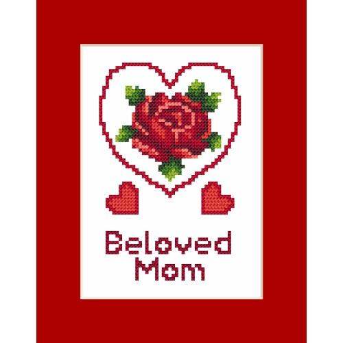 ZI 8473 Cross stitch kit with mouline and beads - Occasional card - Mother's Day