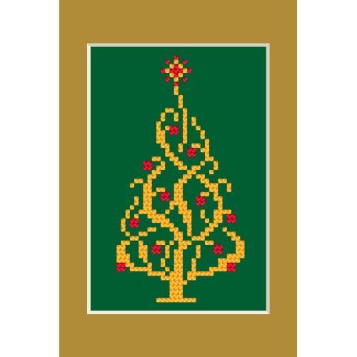 Zestaw z muliną, koralikami i kartką - Kartka świąteczna - Błyszcząca choinka
