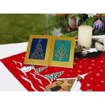 ZI 4948-02 Cross stitch kit with mouline and beads - Christmas card - Shiny Christmas tree