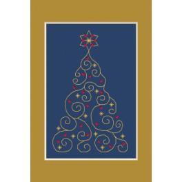 Zestaw z muliną, koralikami i kartką - Kartka świąteczna - Choinka z gwiazdkami