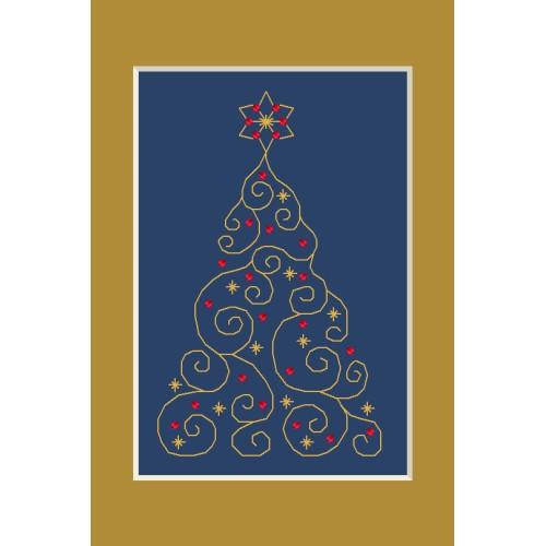 ZI 4948-01 Cross stitch kit with mouline and beads - Christmas card - Christmas tree with stars