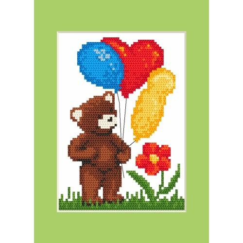 ZI 8421 Cross stitch kit with mouline and beads - Birthday card - Teddy bear with ballons