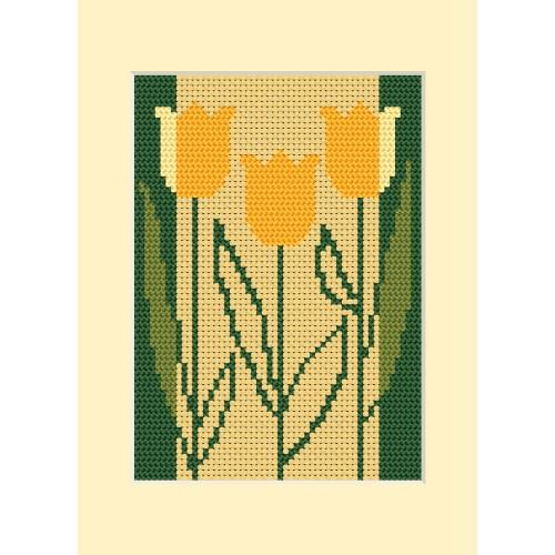 ZI 8413 Cross stitch kit with mouline and beads - Birthday card - Three tulips