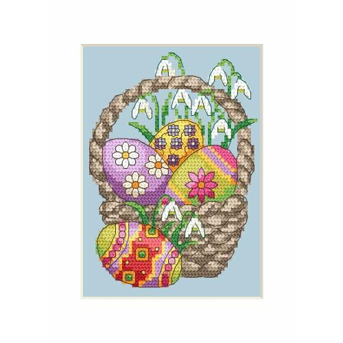 ZI 4917 Cross stitch kit with mouline and beads - Easter postcard - Easter eggs in a basket