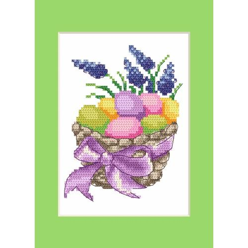 ZI 4916 Cross stitch kit with mouline and beads - Easter postcard - Easter eggs in a basket
