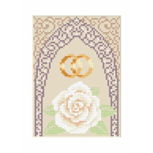 ZI 4905-02 Cross stitch kit with mouline and beads - Wedding card - Gold wedding rings