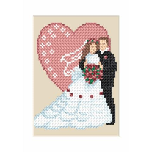 ZI 4906 Cross stitch kit with mouline and beads - Wedding card - Newly-married couple