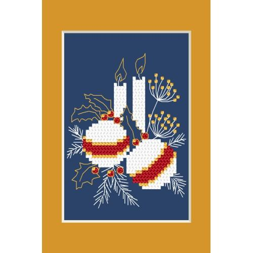 ZI 4949-01 Cross stitch kit with mouline and beads - Christmas card - Christmas balls