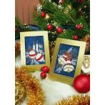 ZI 4949-02 Cross stitch kit with mouline and beads - Christmas card - Christmas bells