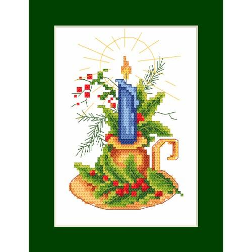 ZI 8294 Cross stitch kit with mouline and beads - Christmas card - card with a candle