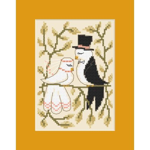 ZI 8448 Cross stitch kit with mouline and beads - Wedding card - Doves in love